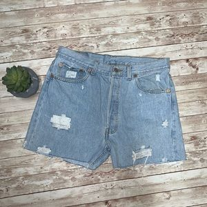 Vintage 501 Distressed Levi Shorts Light Wash